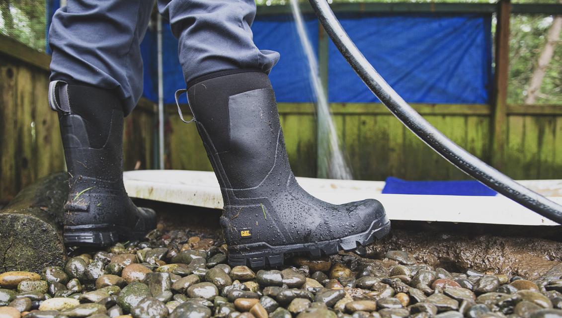 Waterproof boots.