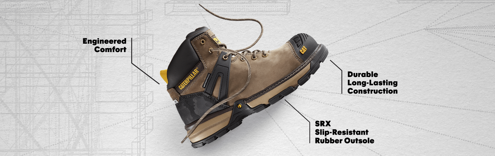 Engineered Comfort, durable long-lasting construction and SRX slip-resistant rubber outsole.