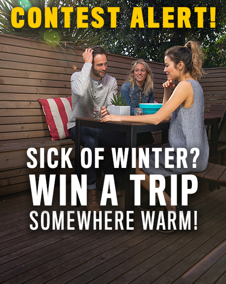 Contest Alert! Sick of winter? Win a trip somewhere warm!