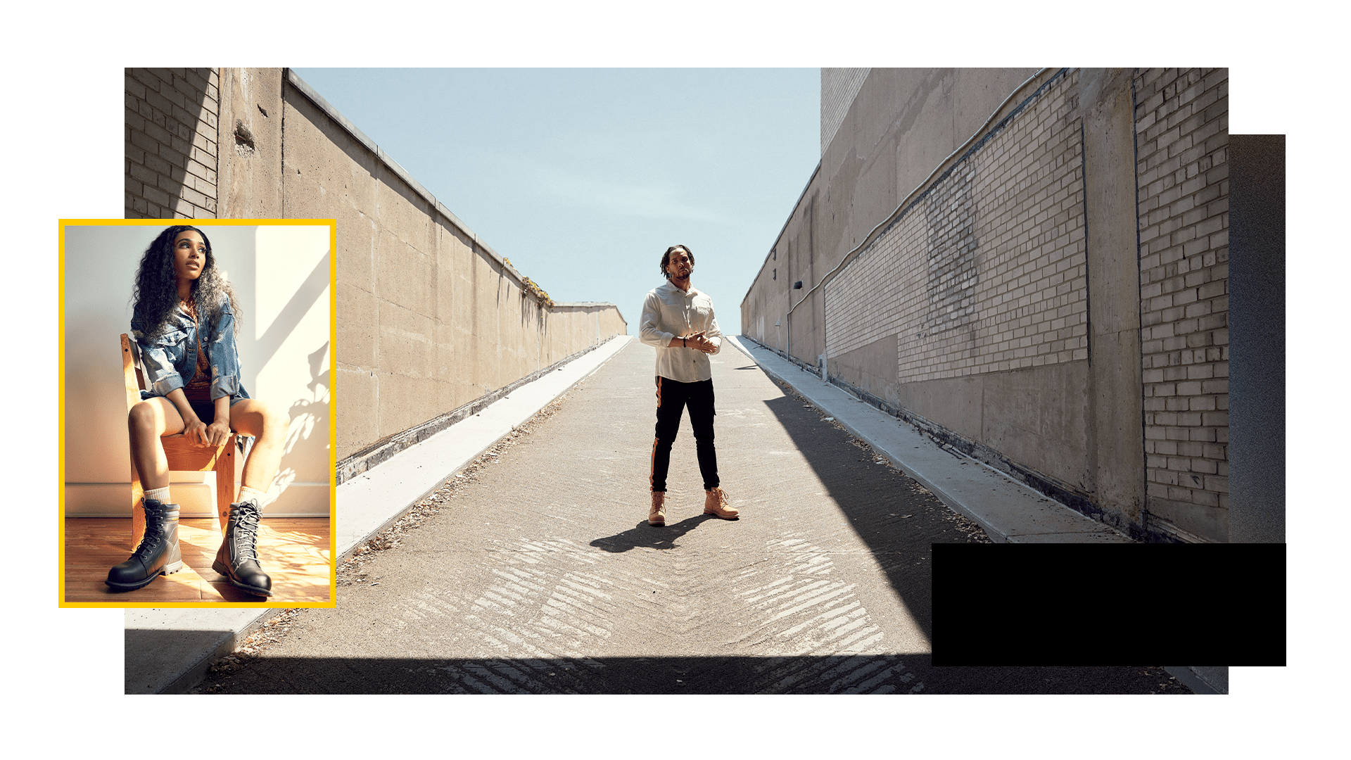 Man stand on ramp with super imposed imag of woman sitting