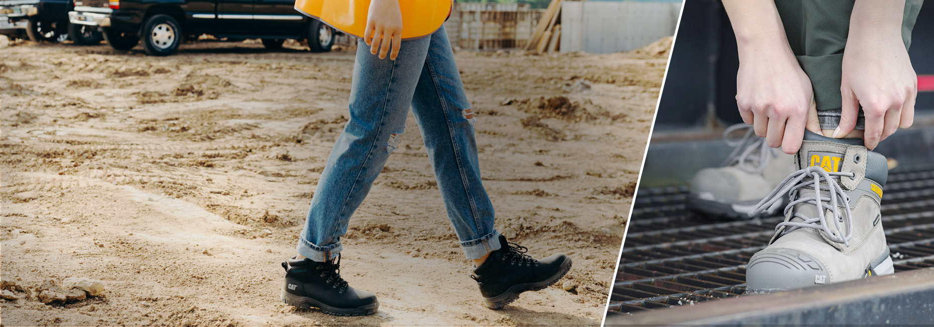A woman wearing safety toe boots while walking thru a construction site.