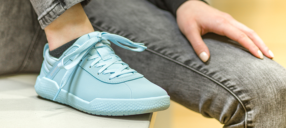 Light blue Code sneakers.