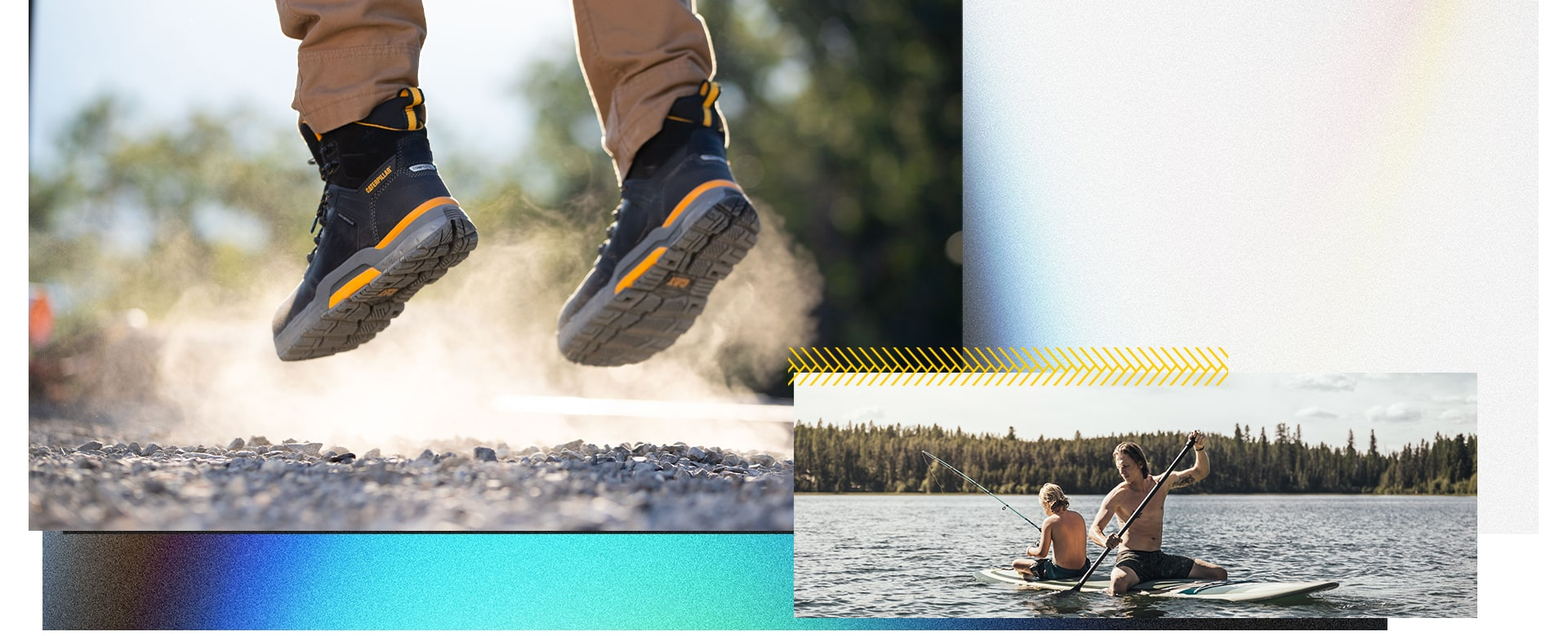 Person jumping, wearing CAT Edge boots and two people enjoying themselves on a paddle board.