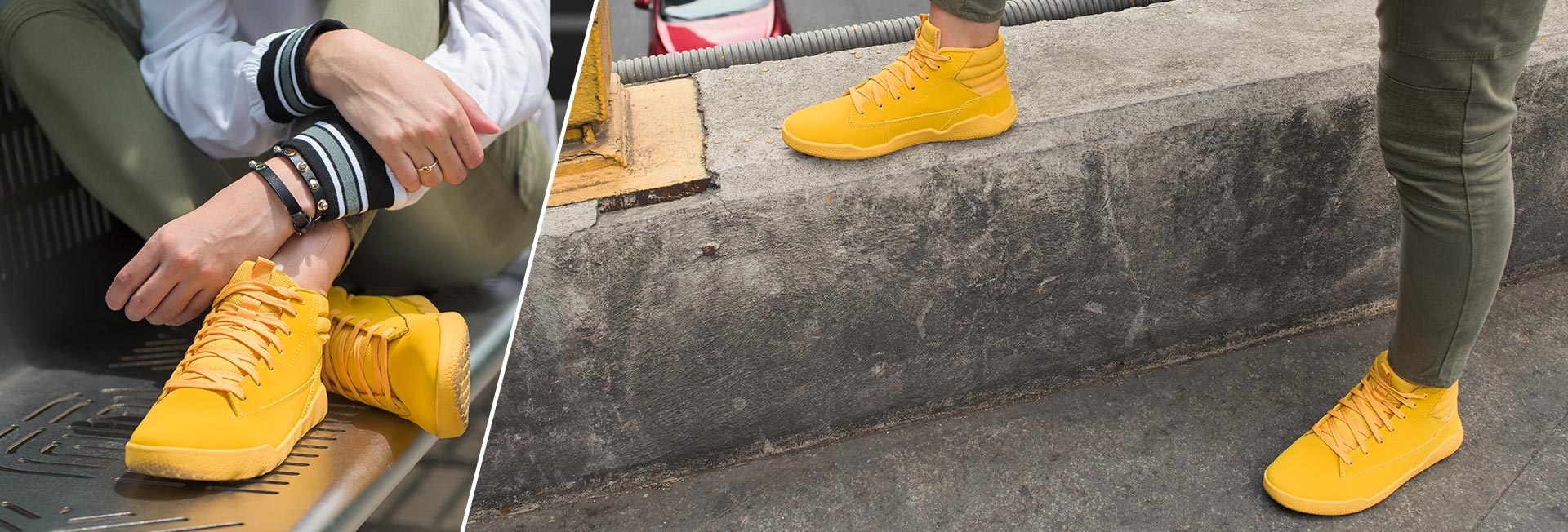 Woman wearing yellow code collection shoes.