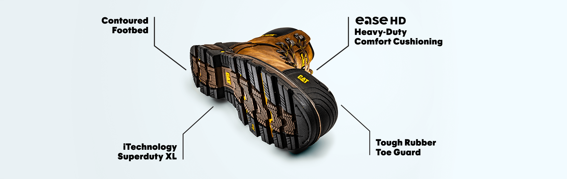 Contoured footbed, ease hd heavy-duty comfort cushioning, iTechnology superduty XL and tough rubber toe guard.
