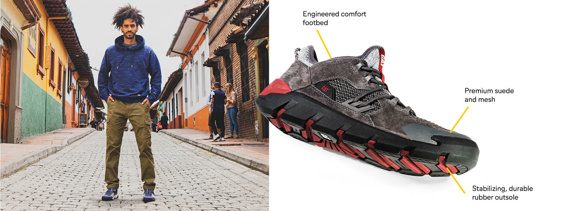 Shoe with tech callouts: Engineered comfort footbed. Premium suede and mesh. Stabilizing, durable rubber outsole.